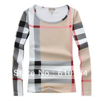 Women Spring Long Sleeve O Neck Fashion T Shirt, 2014 New Free Shipping Cotton S-XL  Luxury Classic Plaid T Shirt For Lady B218