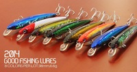 2014 good fishing lures,8colors,98mm,6.6g dive 1.0m floating.each lot 8pcs different minnow