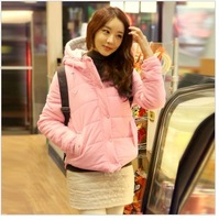 2013 candy color slim women's design short wadded jacket cotton-padded jacket female outerwear with a hood small cotton-padded