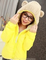 Women's cotton-padded jacket 2013 winter all-match candy panda hat wadded jacket female short design slim cotton-padded jacket