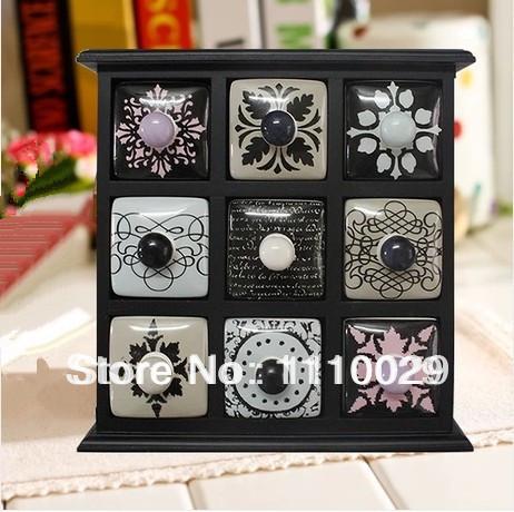 [해외] Zakka  wooden jewelry storage box Ceramic  handmade..
