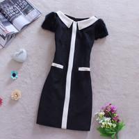 New 2014 spring women winter casual vintage fashion elegant slim waist slim rabbit fur woolen basic one-piece dress ZY0406