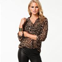 NEW HOT SALE Smss fashion autumn women's leopard print loose sexy single breasted long-sleeve chiffon shirt FREE SHIPPING