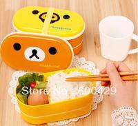 Hot Selling 2 Style Relax Bear Bird Heat Preservation Cute  Lunch Box Rilakkuma Bento With Chopsticks  Freeshipping