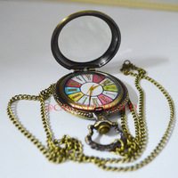 Free Shipping Glass Case & Antique bronze Roma Colorful Pendant Pocket Watch+Necklace
