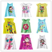 Wholesale 1 lot = 6 pieces 2015 New Girls Cartoon Tees Little Girl Sleeveless T-shirt Children Clothing Summer Cotton Short