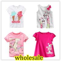 Wholesale 1 lot = 6 pieces 2015 Girls Summer T-shirt Short Sleeve Little Girl Cartoon Tees Baby Tshirt Children  Cotton China