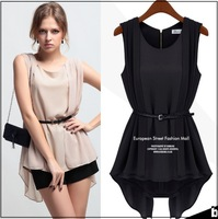 2014 New Arrival Hot Fashion Ladies sleeveless Chiffon blouse Irregular Hem women shirt sashes WD19