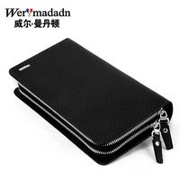 2014 male clutch genuine leather envelope clutch bag wallet long design large capacity black casual double zipper double layer