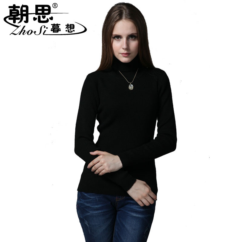 Turtleneck sweater female sweater slim all match tight sweater knitted