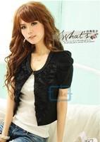 Fashion Women Lady Pearl Round Neck Short Sleeve Coat Short Coat 3 Colors