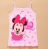 Free Shipping wholesale 20pcs/set 2014 new baby girl's clothing set tank top girl cartoon vest hello kitty minnie mickey