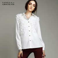 2013 female shirt white plus size patchwork medium-long long-sleeve slim fashion turn-down collar shirt
