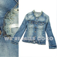 2014 New Fashion Shimmering Powder Rough Selvedge Three Quarter Sleeve Good Shape Short Denim Jacket Coat for Women Ladies