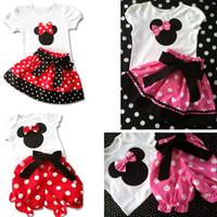 Summer female child MINNIE polka dot short-sleeve set T-shirt short skirt shorts 2 beautiful baby girl set