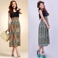 New 2014 casual dress stitching stripes printed patterns Maxi dresses plus size woman dress free shipping
