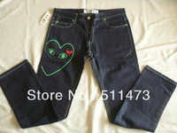 Big discount promotion Comme des Garcons cdg play japanese raw denim Mens green heart Jeans-004