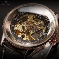 Luxury Ks Royal Carving Black Leather Strap Automatic Mechanical Skeleton Men's Wrap Golden Case Relogio Self Wind Watch / KS112
