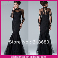 Custom Made Cheap Elegant High Collar Keyhole Back Evening Gown Black Lace Mermaid Long Sleeve Dress