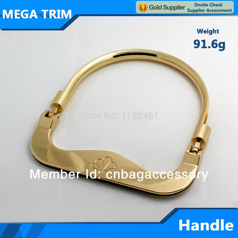 lady metal handle square clutch purse frame light gold metal bag handles(China (Mainland))
