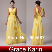 Free Shipping!Grace Karin A-line Deep V-Neck Chiffon Vestidos Wedding Party Ball Formal Evening Gown Long Prom Dresses CL6014