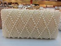 Free Shipping New 2014 Women Pearl Clutch Crystal Evening Bag Party Wedding Handbag Gold Chain Purse
