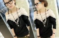 2014 sweet lace women handmade crochet Slash Neck batwing sleeve blouse medium-long t shirt