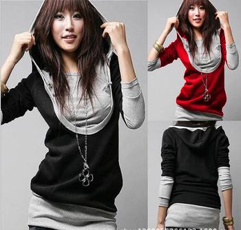 Hot! 2014 Spring new large U-neck long-sleeved hooded Sweatshirts fake two-piece jacket stitching Sweatshirts Woman Hoodies