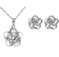 free shipping white gold plated zircon inset plum pendant necklace and earrings jewelry set