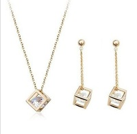free shipping super shiny gold plated zircon inset square frame pendant necklace and earrings jewelry set
