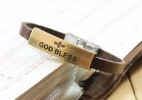 New 2014 Vintage men jewelry antique copper bracelet religious ornaments (god bless) brown Leather Bracelets & Bangles 9023