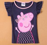 2014 New Fashion Girls Tops Peppa Pig T-Shirt Kids Tops Summer Girls Cotton T Shirts Animal Print Hot Selling