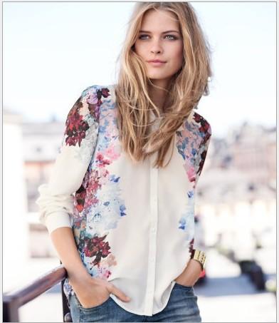 Voorjaar 2014 nieuwe vrouwen mode chineseinkt schilderij print shirt