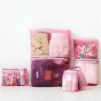 Free shipping Candy-colored multi-function travel pouch breathable mesh  storage bags Classification bags 4pcs/set