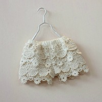 2014 NEW kids LACE shorts girl Children's girls hot layered floral summer