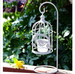 Antigo de ferro branco de aves de suspensão suporte de vela(China (Mainland))