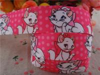 "2014 new arrival 1"" (25mm) marie cat printed grosgrain ribbon cartoon ribbons hair accessories 10 yards wq2733"