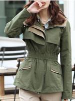 Hot Sale New Women  Fashion Elegant Cotton Slim Coat Hooded Overcoat Jacket Army Green
