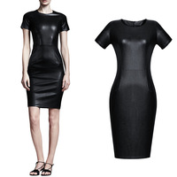 Autumn and winter 2014 spring one-piece dress women's basic skirt fashion sexy slim hip skirt PU leather skirt