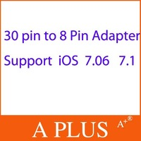 Free Shipping 50Pcs/Lot 30 Pin to 8 Pin Adapter For iPhone 5 5S 5C iPad 4 Mini Touch 5 Ipod Nano 7th Support IOS 7
