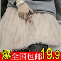 Bust skirt autumn and winter 2014 lace short skirt basic tulle  puff skirt winter women's pleated skirt