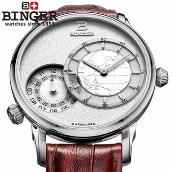 Бесплатная доставка швейцарское качество товаров бингер асе . мужские часы мужские часы путешественника серии ремень белая мука