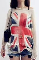 Free shipping 2013  Knitting Women Fashion Wildfox UK Flag hollow out loose Knitting Sweaters Pullover Tops