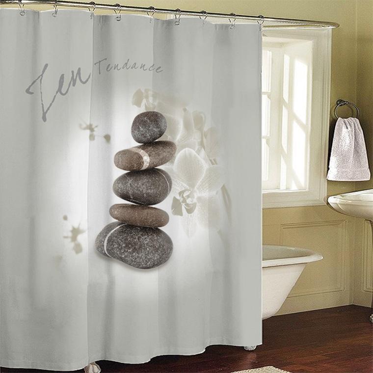 Badkamer producten zen stenen badkamer gordijn douchegordijn bad ...