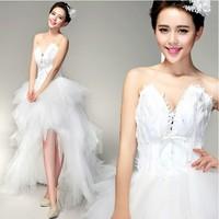 Bride lace V-neck tube top train feather princess bride wedding dress formal dress 2014 low-high formal dress