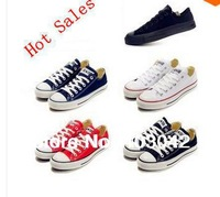 Free Shipping Unisex Low Style Canvas Shoes White Rubber Sole Lace-up Flat Sneakers Breathable Sneakers Size 35-44