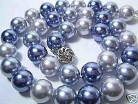 fashion beautiful 12mm grey black blue sea shell Pearl Necklace