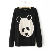 2014 Spring New Arrival Women's Panda Head Print Sweaters Female Western Style Pullovers