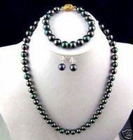 7~8MM black real saltwater Pearl Earring bracelet necklace set