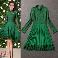 Lovable Secret - 2013 autumn and winter women fashion stand collar green lace perspective pleated skirt one-piece dress